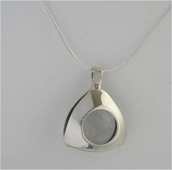 kinetic quartz round ball anxiety necklace sterling dome minimalistic atomic laura berrutti