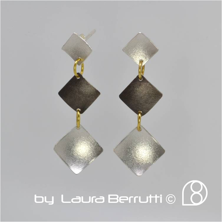 Laura Berrutti, square, sterling, black, minimalist, earrings, dangling, dome, gold, chandelier, gold, black, party, satin, sandblasted, contemporary