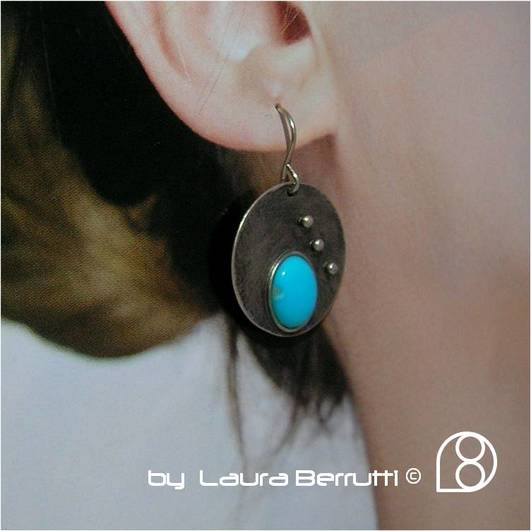 turquoise round oval circle dots black oxidized dangle beach minimallistic laura berrutti